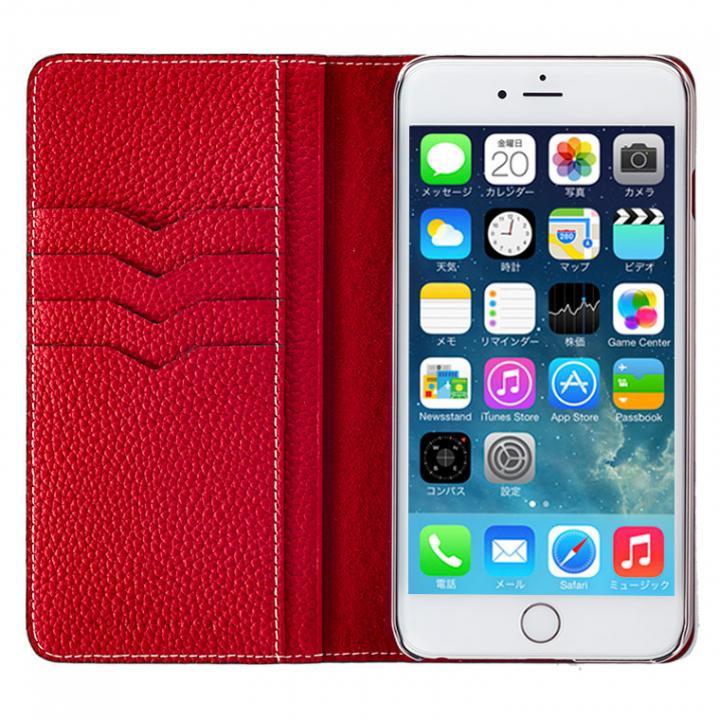 BONAVENTURA ドイツ製本革手帳型ケース レッド iPhone 6 Plus