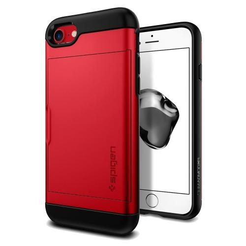iPhone8/7 ケース Spigen スリムアーマー カード収納 レッド iPhone 8/7_0