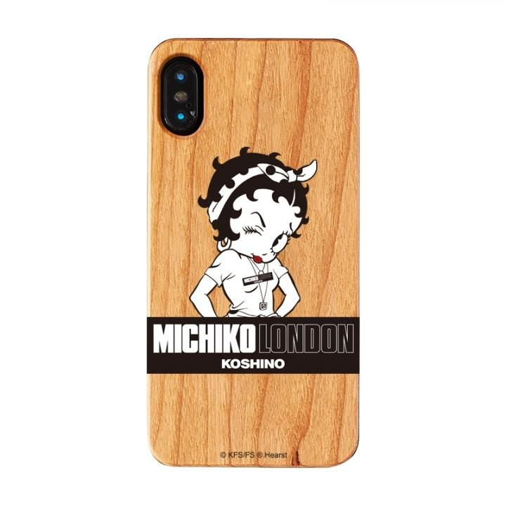 iPhone XS/X ケース MICHIKOLONDON×BETTYBOOP ウッドケース STREET STYLE iPhone XS/X_0