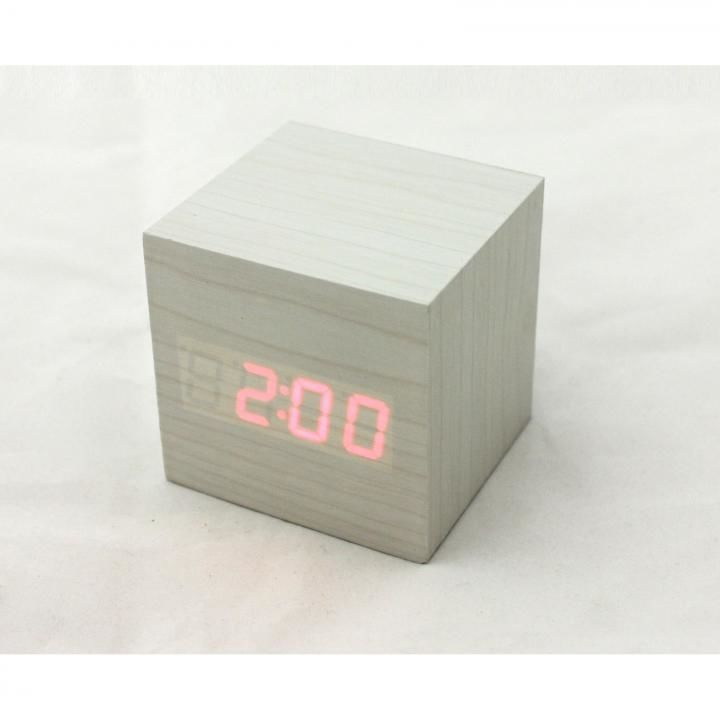キューブクリッククロック 卓上LED時計 ホワイト_0