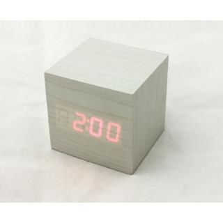 [夏フェス特価]キューブクリッククロック 卓上LED時計 ホワイト【8月下旬】