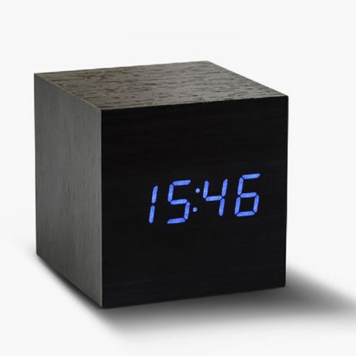 キューブクリッククロック 卓上LED時計 ブラック_0