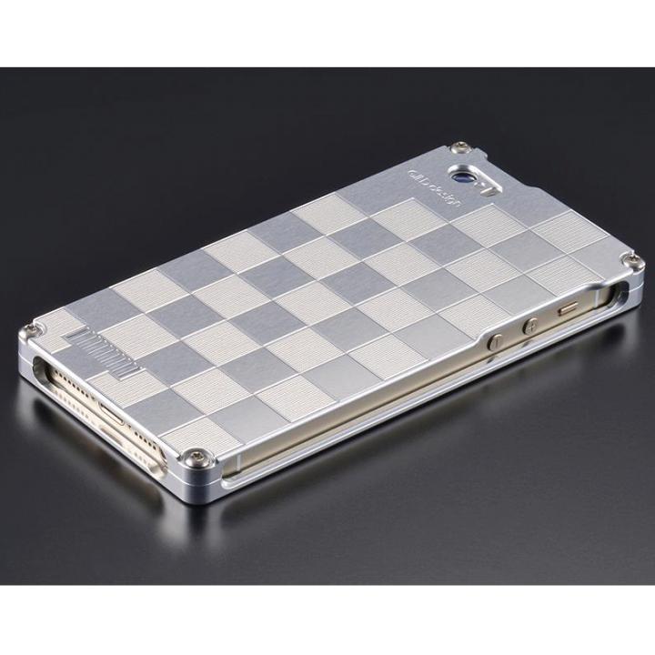 【iPhone SE/5s/5ケース】ソリッドケース 市松 for iPhoneSE/5s/5 シルバー_0