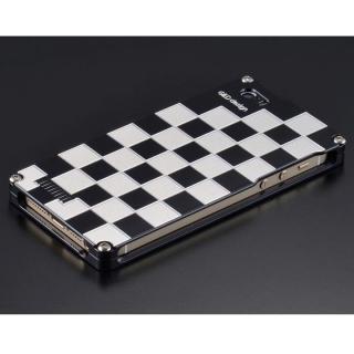 【iPhone SE/5s/5ケース】ソリッドケース 市松 for iPhoneSE/5s/5 シルバー&ブラック