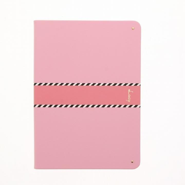 【Lucy】ツートン手帳型ケース ピンク iPad 2017/2018 9.7インチ_0