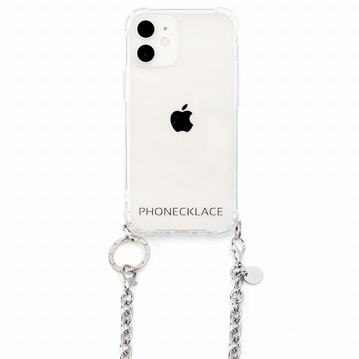 PHONECKLACE チェーンショルダーストラップ付きクリアケース シルバー iPhone 12 mini_0