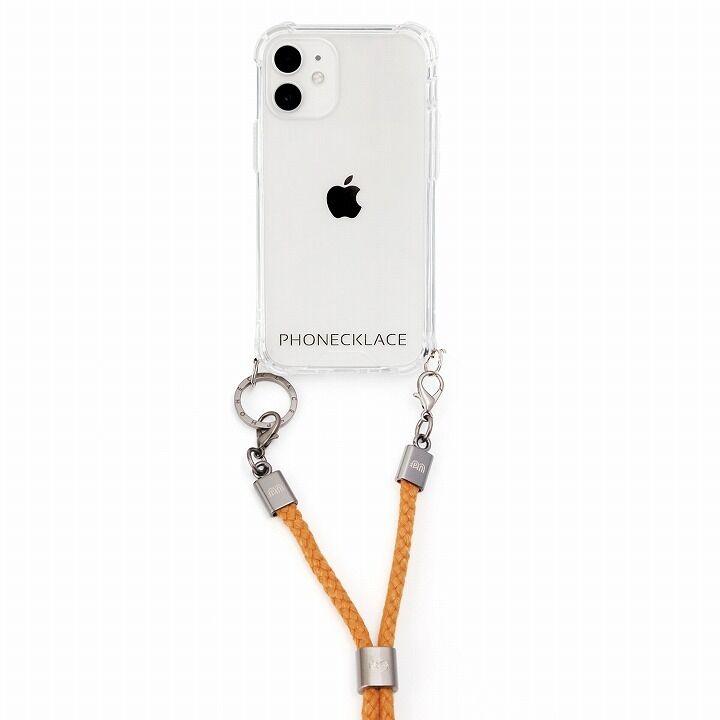 PHONECKLACE ロープショルダーストラップ付きクリアケース マスタード iPhone 12 mini_0