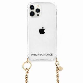iPhone 12 / iPhone 12 Pro (6.1インチ) ケース PHONECKLACE チェーンショルダーストラップ付きクリアケース ゴールド iPhone 12/12Pro