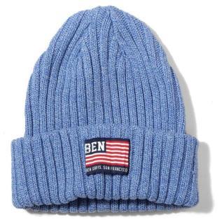 BENDAVIS コットン ニットキャップ フラッグロゴ H-ブルー