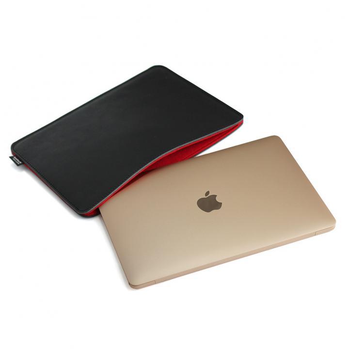 国立商店 職人が作るオイルドレザースリーブ  MacBook(ブラックxレッド)_0