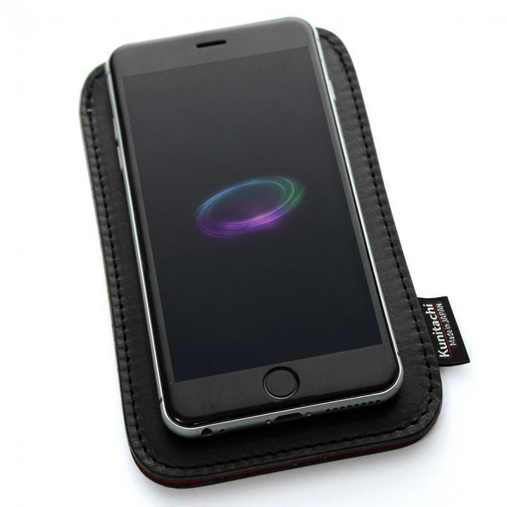 【iPhone6ケース】国立商店 職人が作るオイルドレザースリーブ ルーズフィットモデル ブラック×レッド iPhone 6ケース_0