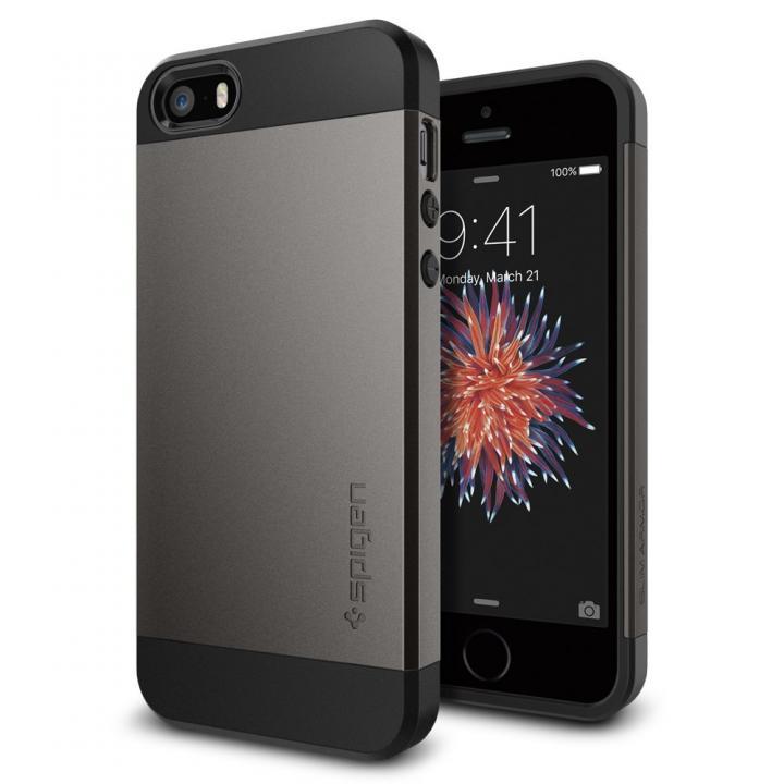 【iPhone SE/5s/5ケース】Spigen スリム・アーマー 耐衝撃ケース ガンメタル iPhone SE/5s/5_0
