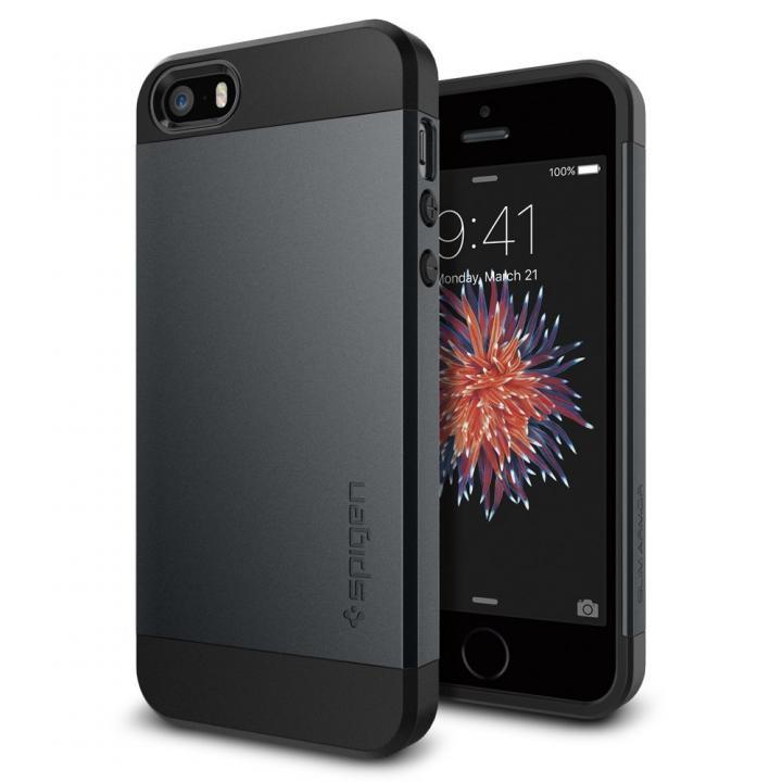 【iPhone SE/5s/5ケース】Spigen スリム・アーマー 耐衝撃ケース メタルスレート iPhone SE/5s/5_0