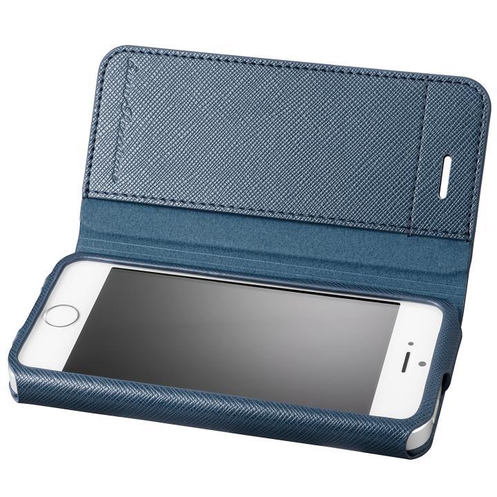 iPhone SE/5s/5 ケース GRAMAS COLORS PUレザー手帳型ケース EURO Passione ネイビー iPhone SE/5s/5_0