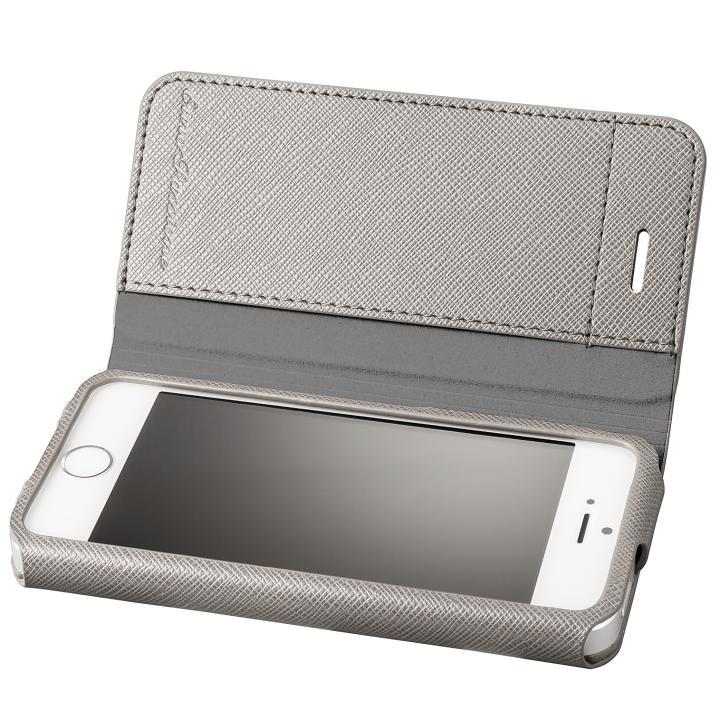 iPhone SE/5s/5 ケース GRAMAS COLORS PUレザー手帳型ケース EURO Passione グレイ iPhone SE/5s/5_0