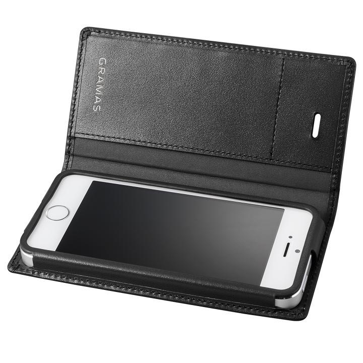 iPhone SE/5s/5 ケース GRAMAS フルレザー手帳型ケース ブラック iPhone SE/5s/5_0