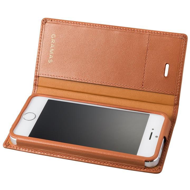 GRAMAS フルレザー手帳型ケース タン iPhone SE/5s/5