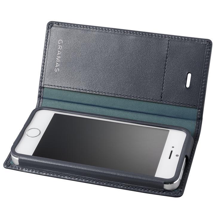 iPhone SE/5s/5 ケース GRAMAS フルレザー手帳型ケース ネイビー iPhone SE/5s/5_0