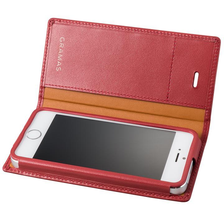 【iPhone SE/5s/5ケース】GRAMAS フルレザー手帳型ケース レッド iPhone SE/5s/5_0