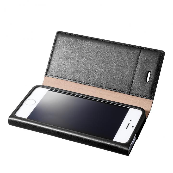 GRAMAS One-Sheet Leather2 ブラック iPhone SE/5s/5 手帳型ケース