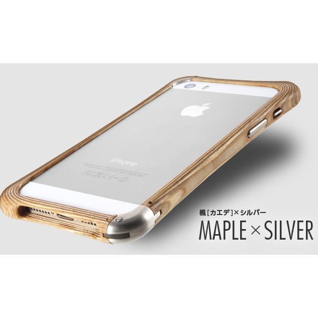 iPhone SE/5s/5 ケース 高級木製バンパー ロティス 楓×シルバー iPhone SE/5s/5バンパー_0
