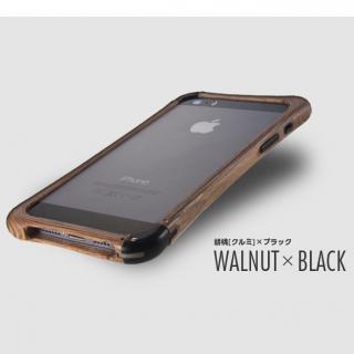 高級木製バンパー ロティス 胡桃×ブラック iPhone SE/5s/5バンパー
