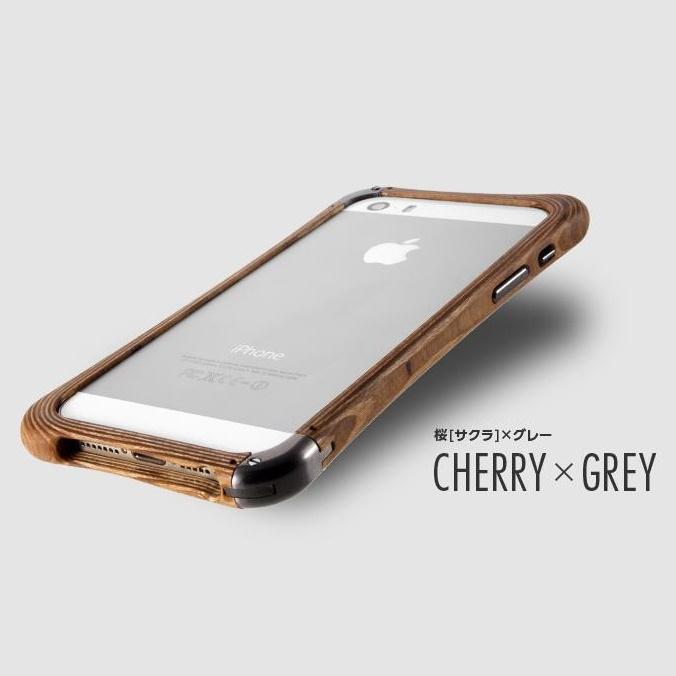 iPhone SE/5s/5 ケース 高級木製バンパー ロティス 桜×グレー iPhone SE/5s/5バンパー_0