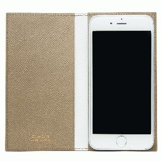 CAMONE Made In Japan 5インチ 多機種対応手帳型ケース ベージュ/ホワイト【7月上旬】