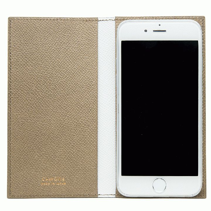 CAMONE Made In Japan 5.5インチ 多機種対応手帳型ケース ベージュ/ホワイト