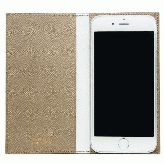 CAMONE Made In Japan 5.5インチ 多機種対応手帳型ケース ベージュ/ホワイト【7月下旬】