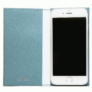 CAMONE Made In Japan 5.5インチ 多機種対応手帳型ケース ライトブルー/ホワイト