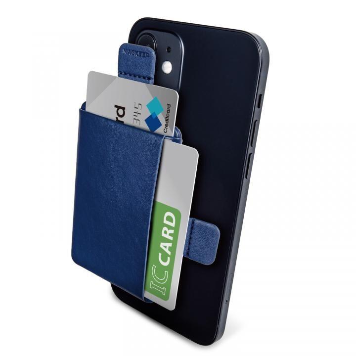 MAGKEEP 磁気吸着カードポケット ソフトレザー iPhone12シリーズ用 ネイビー_0