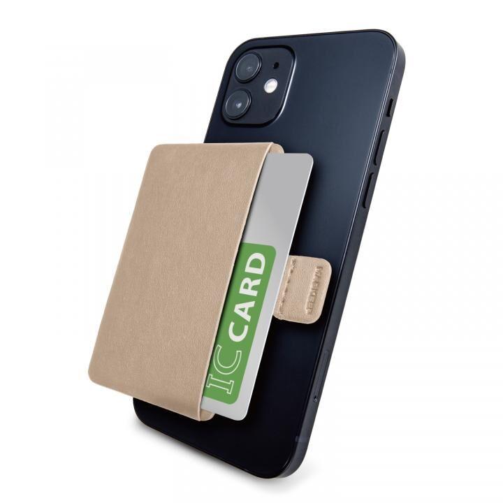 MAGKEEP 磁気吸着カードポケット ソフトレザー iPhone12シリーズ用 ベージュ_0