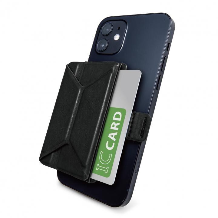 MAGKEEP 磁気吸着カードポケットソフトレザー スタンド機能付き iPhone12シリーズ用 ブラック_0