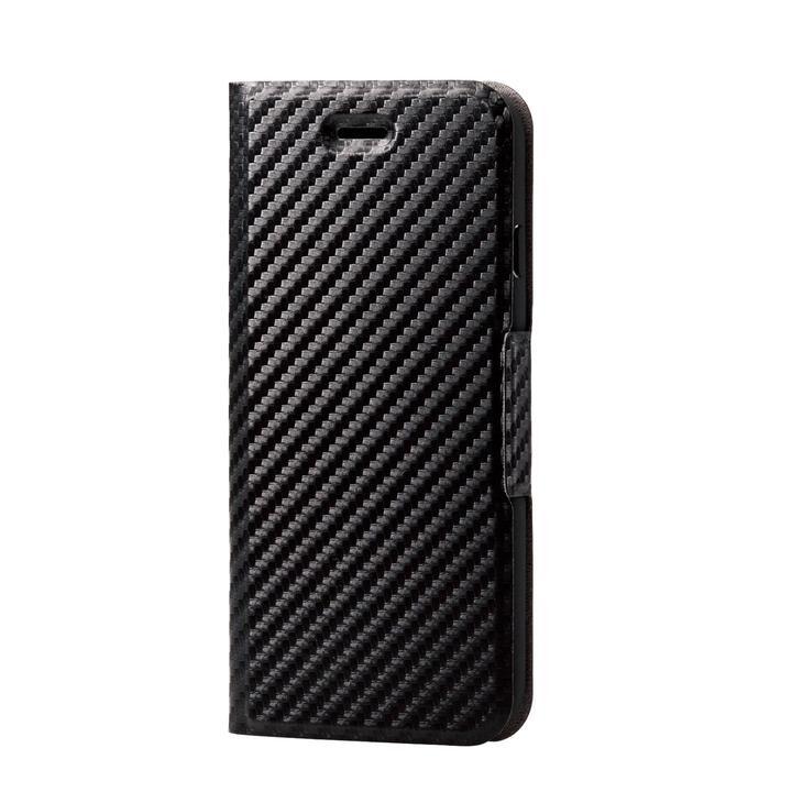 iPhone8/7/6s/6 ケース ソフトレザーケース 薄型 磁石付 カーボン調(ブラック) iPhone SE 第2世代/8/7_0
