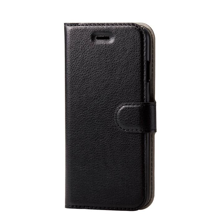 iPhone8/7/6s/6 ケース ソフトレザーケース 薄型 磁石付 ステッチ ブラック iPhone SE 第2世代/8/7_0