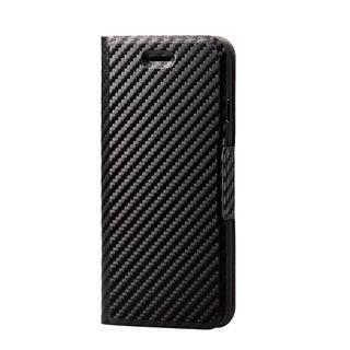 iPhone SE 第2世代 ケース ソフトレザーケース 薄型 磁石付 カーボン調(ブラック) iPhone SE 第2世代/8/7