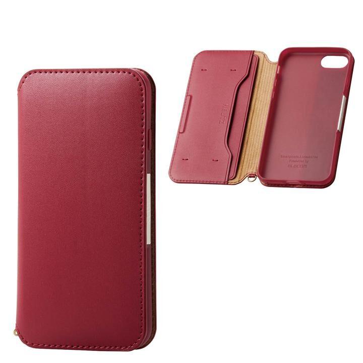 iPhone8/7/6s/6 ケース ソフトレザーケース 磁石付 レッド iPhone SE 第2世代/8/7_0
