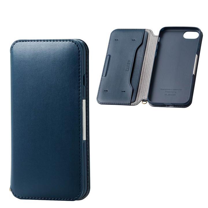 iPhone8/7/6s/6 ケース ソフトレザーケース 磁石付 ネイビー iPhone SE 第2世代/8/7_0