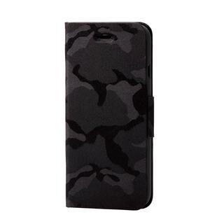 iPhone SE 第2世代 ケース ファブリックケース 薄型 カモフラ 磁石付 ブラック iPhone SE 第2世代/8/7