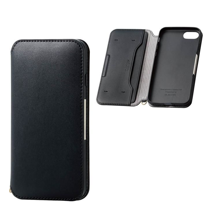 iPhone8/7/6s/6 ケース ソフトレザーケース 磁石付 ブラック iPhone SE 第2世代/8/7_0