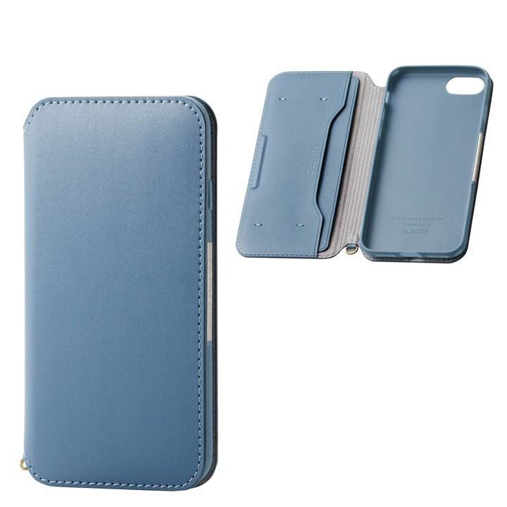 iPhone8/7/6s/6 ケース ソフトレザーケース 磁石付 ブルー iPhone SE 第2世代/8/7_0
