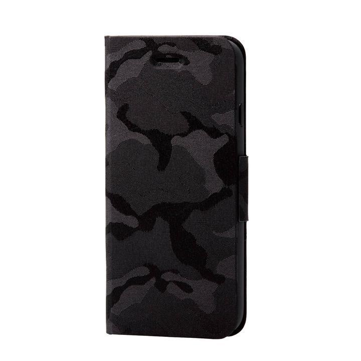 iPhone8/7/6s/6 ケース ファブリックケース 薄型 カモフラ 磁石付 ブラック iPhone SE 第2世代/8/7_0