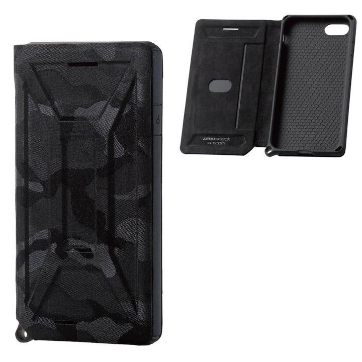 iPhone8/7/6s/6 ケース ZERO SHOCK フラップ カモフラ(ブラック) iPhone SE 第2世代/8/7_0
