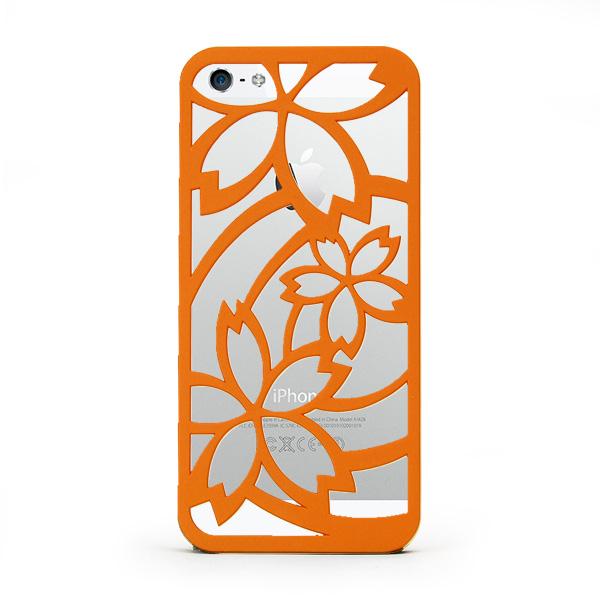 iPhone SE/5s/5 ケース inCUTOUT 切り絵スタイルのiPhone SE/5s/5ケース サクラ オレンジ_0