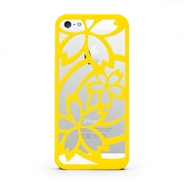 iPhone SE/5s/5 ケース inCUTOUT 切り絵スタイルのiPhone SE/5s/5ケース サクラ イエロー_0