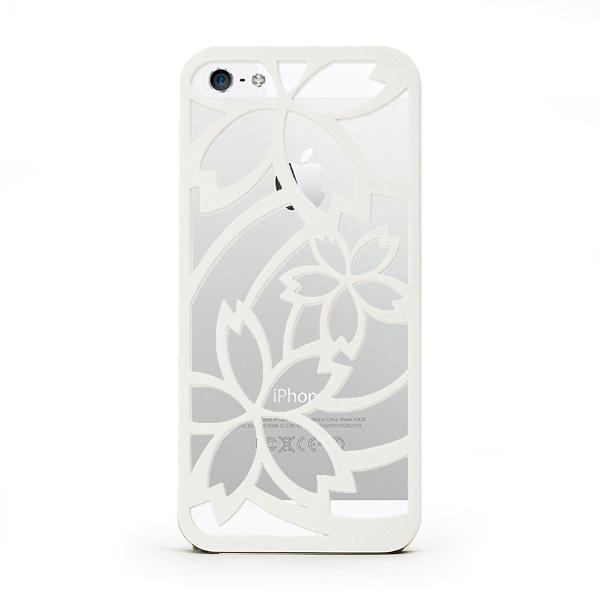 iPhone SE/5s/5 ケース inCUTOUT 切り絵スタイルのiPhone SE/5s/5ケース サクラ ホワイト_0