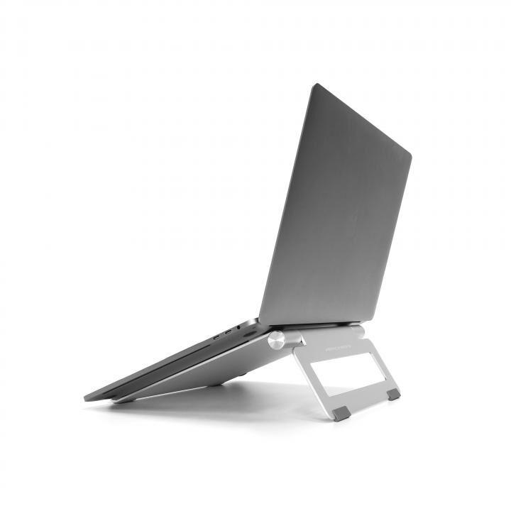打ちやすい、書きやすい、使いやすい角度 ノートパソコン・タブレット用アルミスタンド L SWING STAND BY ME シルバー_0