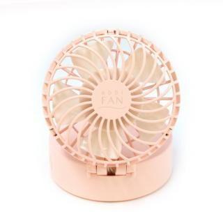 abbi Fan Mirror ハンズフリーポータブル扇風機ミラー付き ピンク