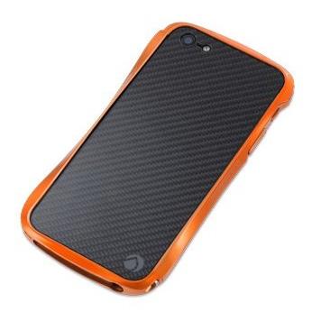 iPhone SE/5s/5 ケース CLEAVE CRYSTAL BUMPER METALIC & CARBON Orange  iPhone SE/5s/5